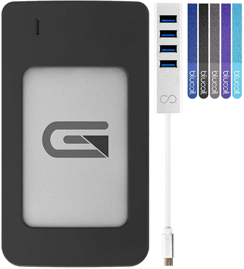 Glyph Atom RAID 4TB External SSD with USB-C Connection (Silver) Bundle with Blucoil USB Type-C Mini Hub with 4 Ports and 5-Pack of Cable Ties