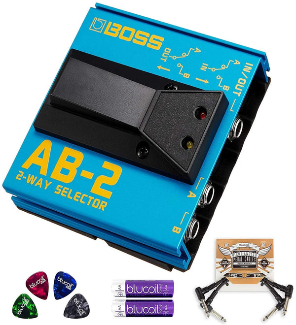 BOSS AB-2 2-Way Selector Pedal Bundle with Blucoil Pedal Patch Cables (2-Pack), AAA Batteries (4 Pack) and Celluloid Guitar Picks