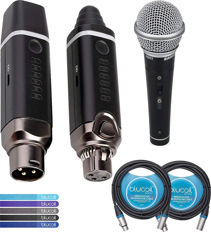NUX B-3 2.4GHz Wireless Mic System Bundle with Samson R21S Cardioid Dynamic Microphone, Blucoil 2-Pack of 10-FT Balanced XLR Cables, and 5-Pack of Reusable Cable Ties