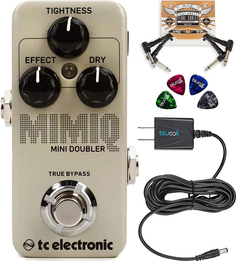 TC Electronic Mimiq Mini Doubler Pedal with True Bypass Bundle with Blucoil Slim 9V 670ma Power Supply AC Adapter, 2-Pack of Pedal Patch Cables, and 4-Pack of Celluloid Guitar Picks