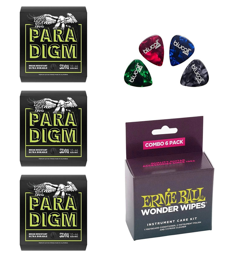 Ernie Ball Paradigm Regular Slinky Electric Guitar Strings P02021, Set of .010-.046 Bundle with P04279 Wonder Wipes 6-Pack Combo for Musical Instruments and 4 Blucoil Guitar Picks