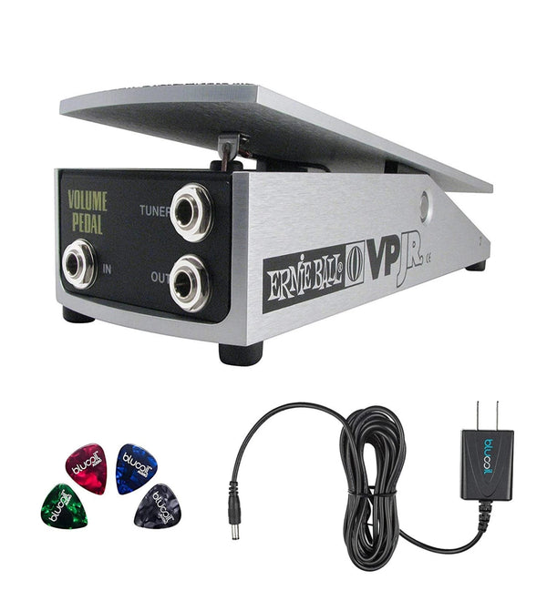 Ernie Ball VP Jr. 25K Volume Pedal - Mono for Active Electronics, 6181 Bundle with Blucoil Power Supply AC/DC Adapter for 9 Volt DC 670mA and 4 Pack of Guitar Picks