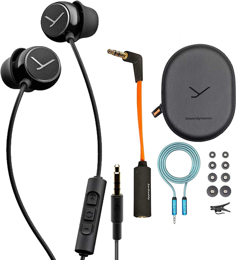 Beyerdynamic Soul BYRD in-Ear Wired Headset with Inline Microphone Bundle with iFi Ear Buddy Audio Attenuator for 3.5mm Headphones and IEMs, and Blucoil 6-FT Headphone Extension Cable (3.5mm)