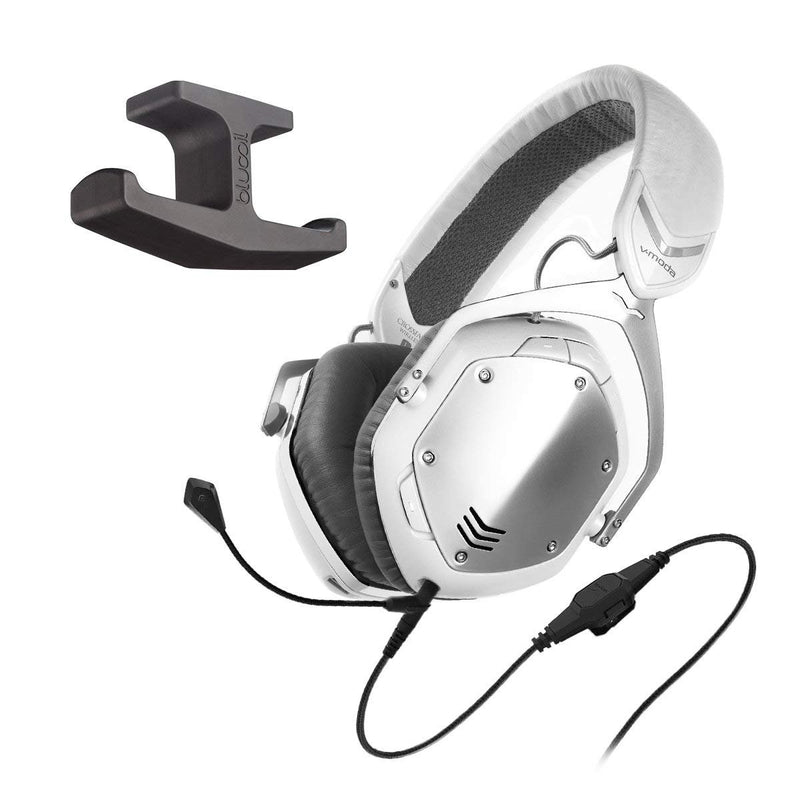 V-MODA XFBT-SV Crossfade Bluetooth Wireless Headphones with Noise Isolation (White Silver) -INCLUDES- Omni-Directional BoomPro Microphone AND Blucoil Under-Desk Headphone Hook