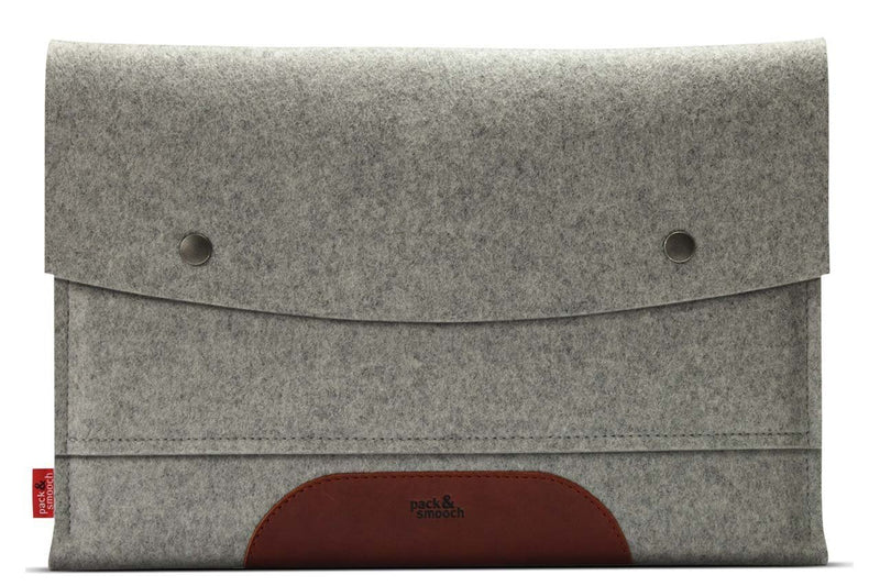 "Pack & Smooch MacBook Air 13"" Case Cover Sleeve 100 % Merino Wool Felt And Vegetable Tanned Leather Gray/Light Brown Made in Germany"