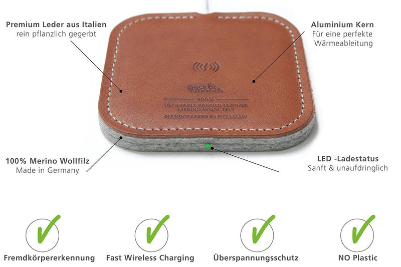 Pack & Smooch 10W / 7.5W Fast Wireless Charger Taurus Made of Leather and Wool Felt for iPhone X/XS/XS Max /8 Plus/Samsung Galaxy S9 and All Qi Capable Devices (Light Brown)