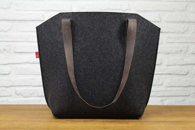 Pack & Smooch Big Sized Tote Bag with pockets -YORK-Handmade in Germany, 100% Wool Felt, Vegetable Tanned Leather