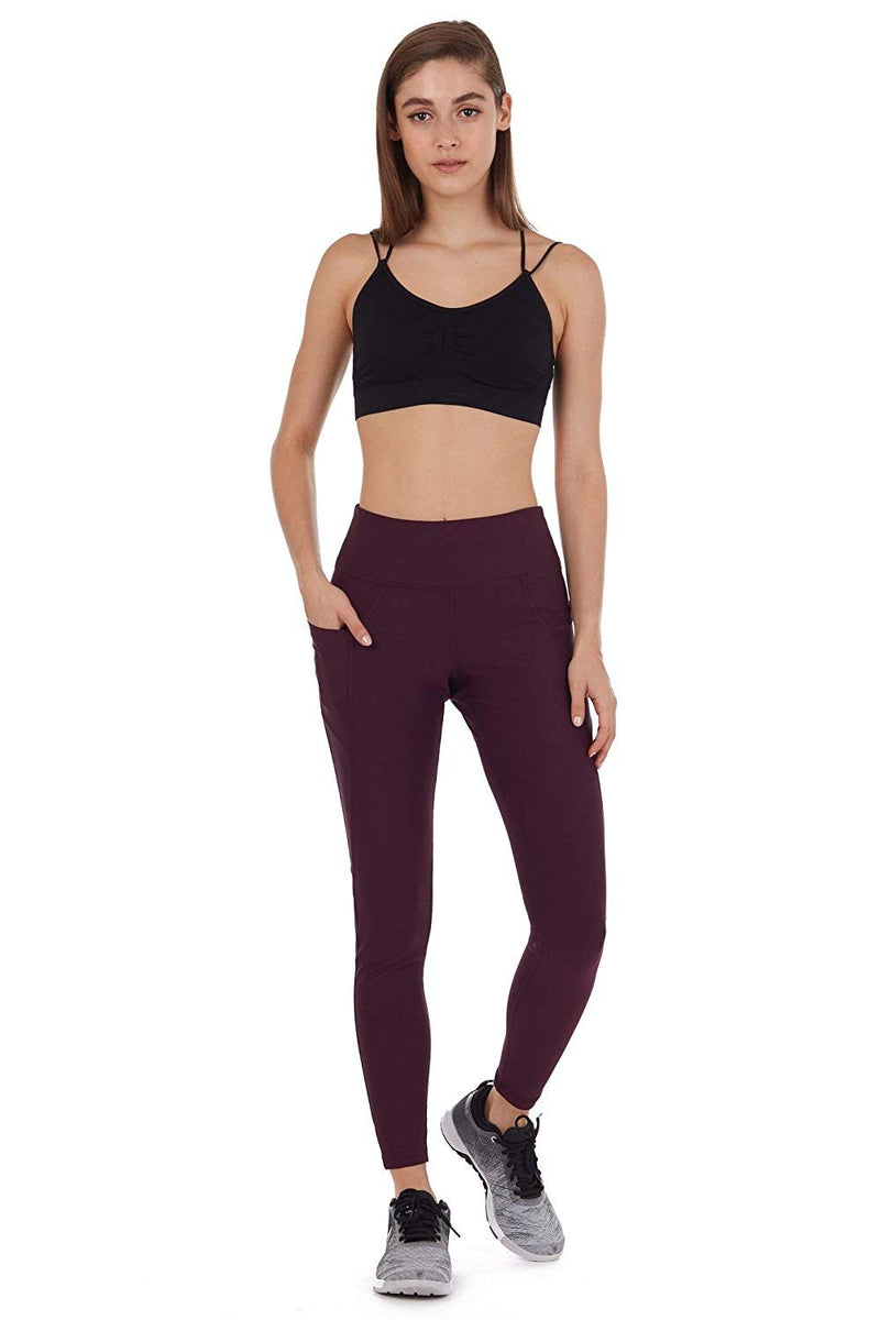Cover Girl Leggings with Phone Pockets - Plum (M)