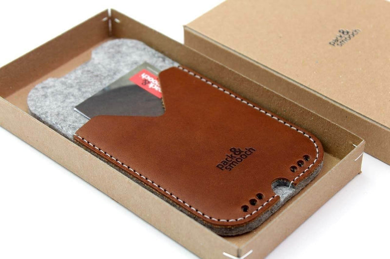 "Pack & Smooch Kirkby iPhone 8 Plus / 7 Plus (5.5"") Sleeve - Handcrafted in Germany with 100% Merino Wool and Vegetable Tanned Italian Leather - Dark Gray/Dark Brown"