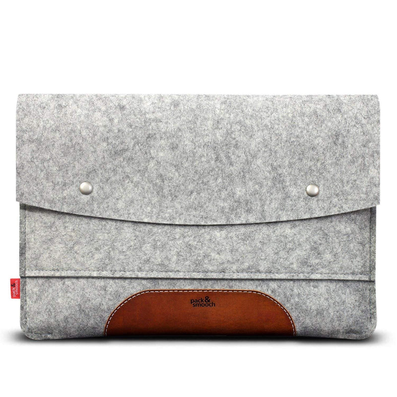 "Pack & Smooch Hampshire Sleeve + Smart Keyboard Cover for iPad Pro 12.9"" - Handcrafted in Germany with 100% Wool Felt and Vegetable Tanned Leather - Gray/Tan Light Brown"