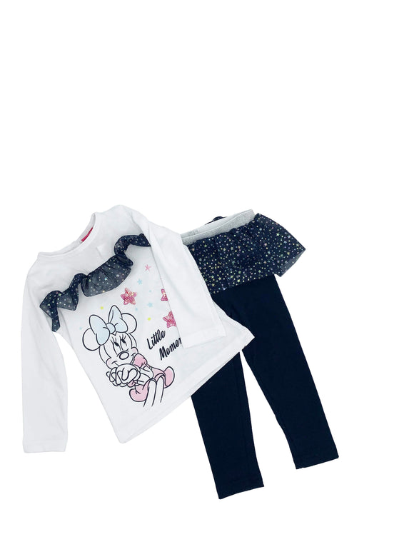 Conjunto algodón con malla estampado y bordado minnie Little moments - Kiss