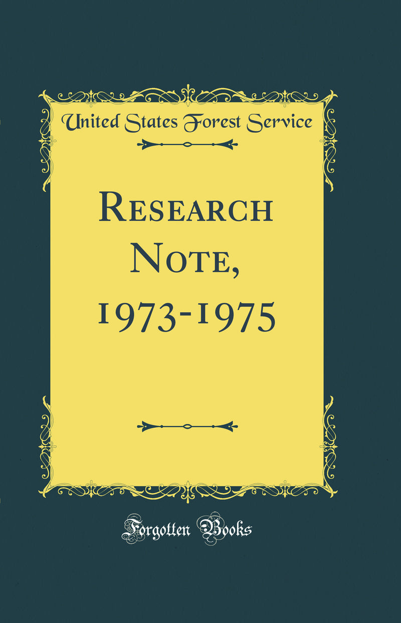 Research Note, 1973-1975 (Classic Reprint)