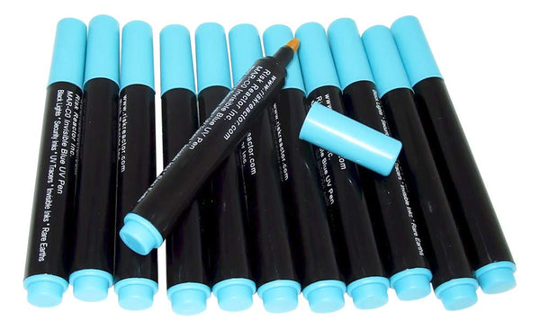 Risk Reactor Inc. MAX-C012 Box of Twelve Invisible Black Light Invisible Blue Marker Pens