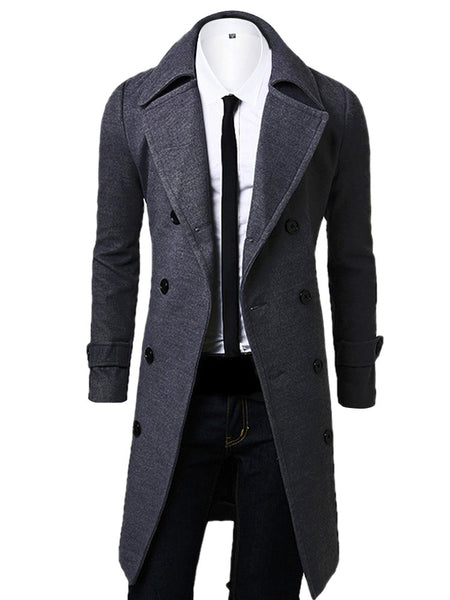 OCHENTA Men's Double Breasted Turn Down Collar Slim Woolen Overcoat Gray Asian XL - US S