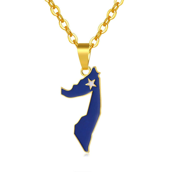 Gold Color Somalia Map and Flag Pendants & Necklaces for Women/Men Unisex Somaliland Necklace Jewelry,Gold-Color,50cm