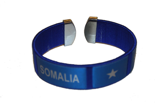 SUPERDAVES SUPERSTORE Somalia Blue Country Flag THICK C' Bracelet Wristband. New