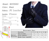 BOTINDO Touchscreen Leather Gloves, Lined Winter Driving Gloves for Men (L)
