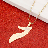 BR Gold Jewelry Somalia Map Flag Gold Color Necklace Gold Color Jewelry Soomaaliya Jewelry
