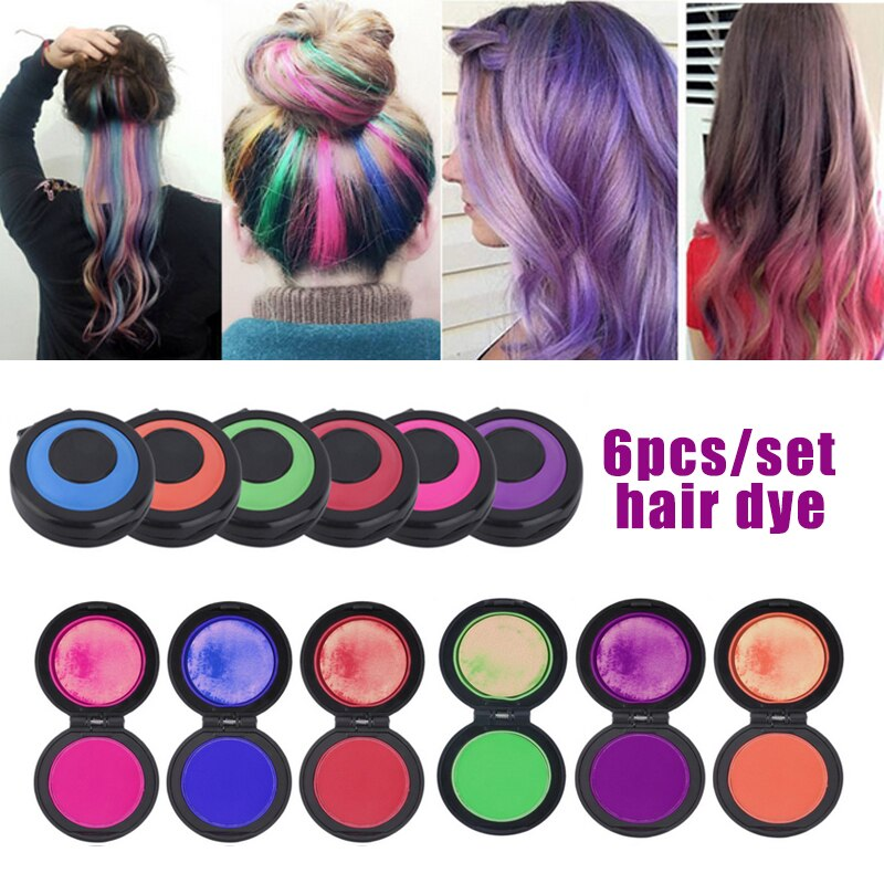 6pcs/set Temporary Hair Dye Powder