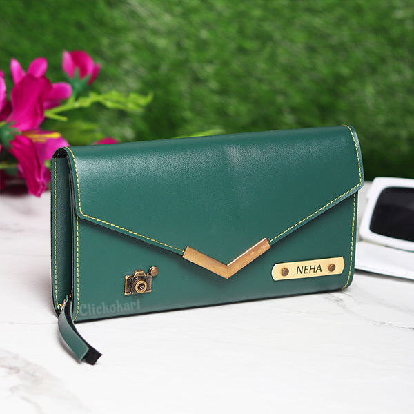 Personalized Ladies Clutch With Charm Green Color