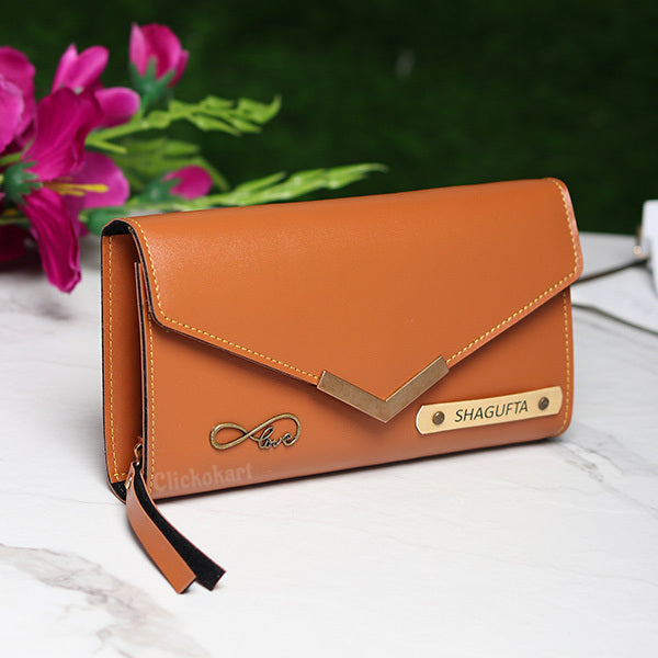 Personalized Ladies Clutch With Charm Tan Color