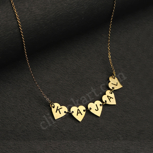Alphabet Name Necklace On Heart