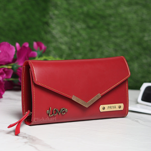 Personalized Ladies Clutch With Charm Red Color