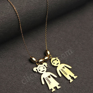 Personalized Double Doll Name Pendant