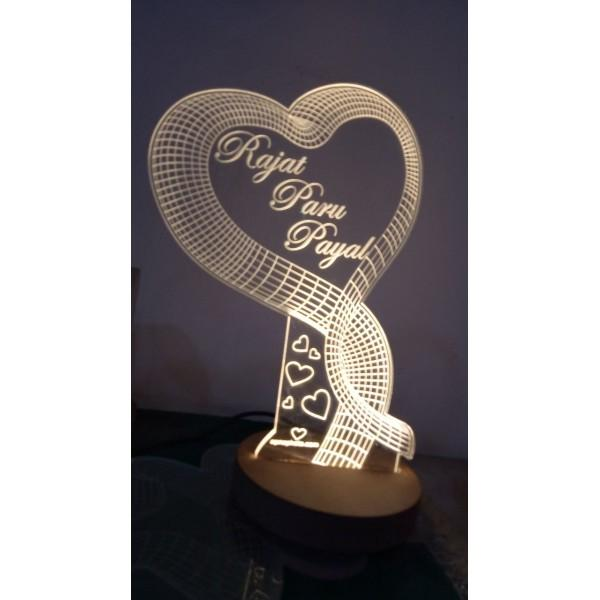 Only One Acryllic Heart 3D Lamp