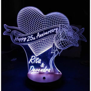 Happy 25th Anniversary 3D Acrylic Lamp
