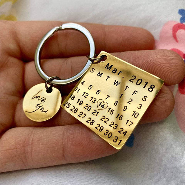 Personalized Calendar key chain | stainless steel