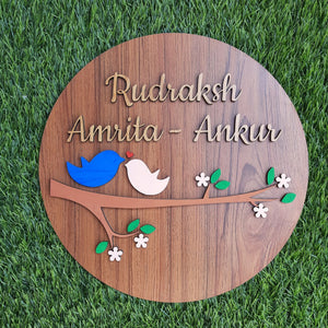 WOODEN HAND-PAINTED CIRCLE  NAMEPLATE