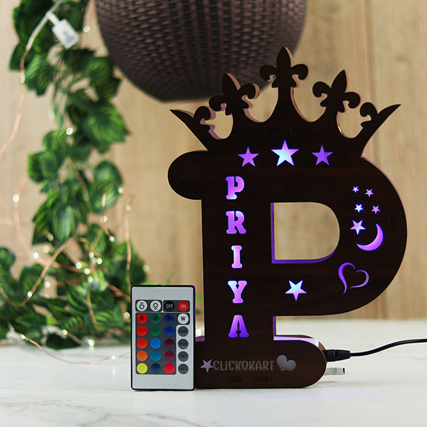 Alphabet P Wooden Multi Color Led Name Board