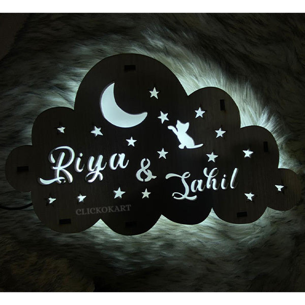 Wooden Cloud Led Name Board