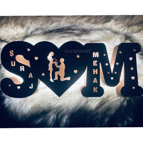 Wooden Name Board With MULTICOLOR Light