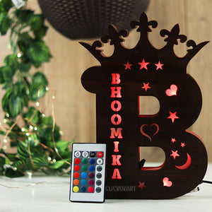 Alphabet B Wooden Led Name Board