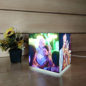 Personalized Glowing Cube Tabletop Lamp