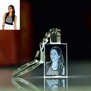Personalized Rectangle Shape Crystal Key chain With Led.