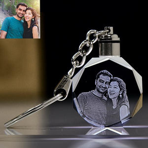 Personalized Diamond Shape Crystal Key chain With Led.