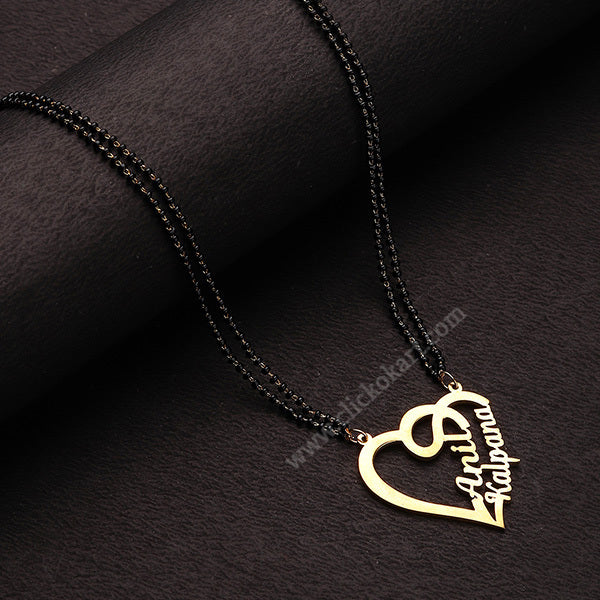 Double Name Heart Necklace With Mangalsutra