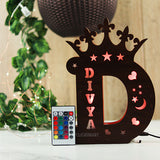 Alphabet D Wooden Multi Color Led Name Board