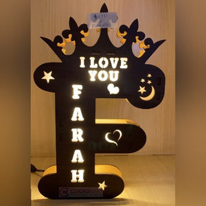 Alphabet F Wooden Led Name Board