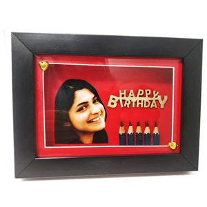 Handmade Pencil Craving Art With Photo Frame