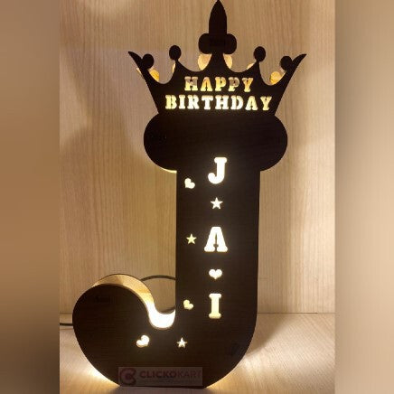 Alphabet J Wooden Led Name Board