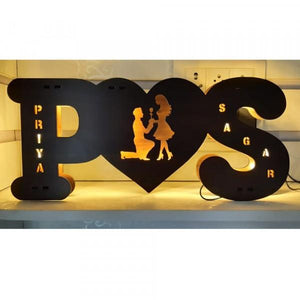 Wooden Name Board With Light