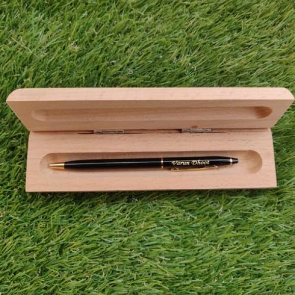 Personalized Metallic Ball Pen With Wooden Box