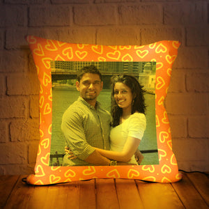 PERSONALIZED LED CUSHION WITH PINK BORDER DESIGN