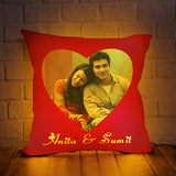 PERSONALIZED LED CUSHION WITH RED BACKGROUND DESIGN