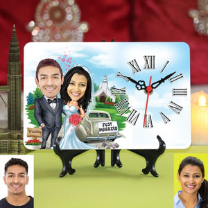 PERSONALIZED WEDDING COUPLE CARICATURE TABLE CLOCK