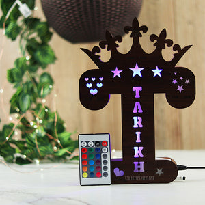 Alphabet T Wooden Multi Color Led Name Board